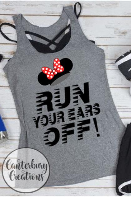 Run your Ears Off Ladies Racerback Tank Top