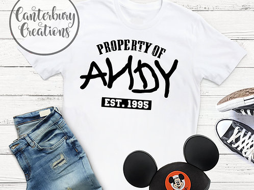 Property of Andy Adult T-Shirt