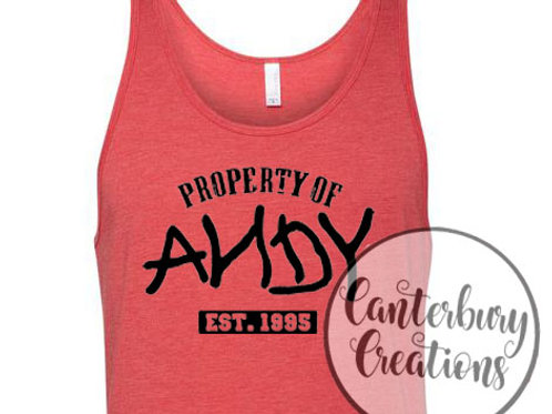Property of Andy Adult Unisex Tank Top