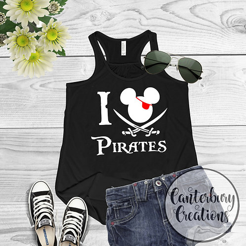 I heart Pirates Ladies Racerback Tank Top
