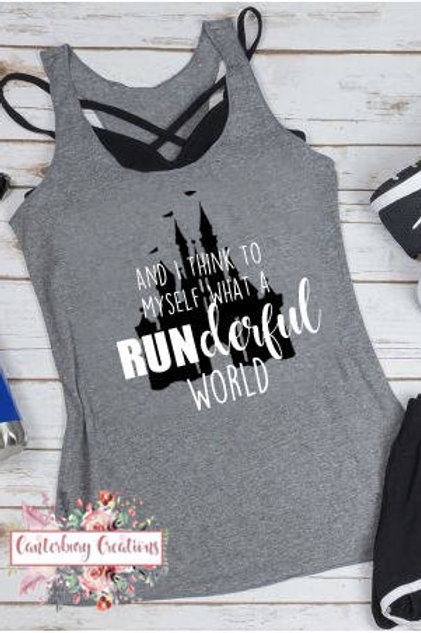 What a RUNderful World Ladies Racerback Tank Top