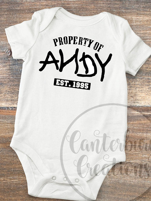 Property of Andy Infant Bodysuit