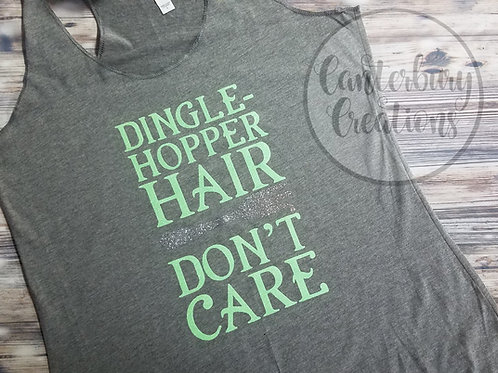 Dinglehopper Hair Don't Care Ladies Racerback Tank Top