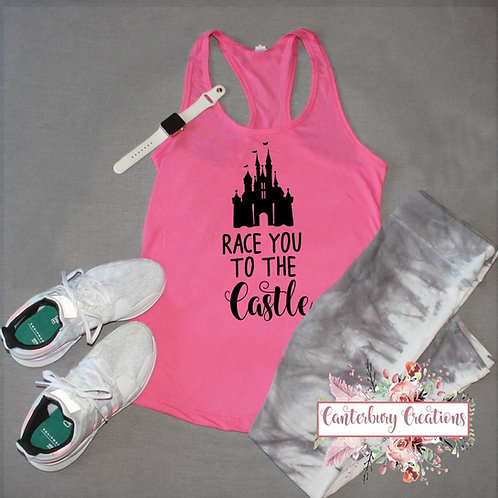 Race you to the Castle Ladies Racerback Tank Top