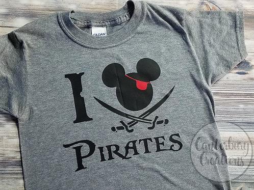 I love Pirates Toddler Shirt