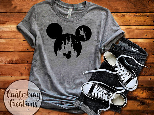 Tinkerbell Castle with Mickey Adult T-Shirt