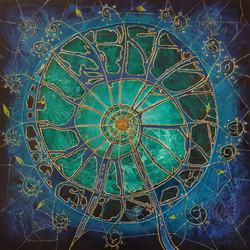 Spiral Wheel of 5D Light. 100x100x4cm.