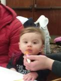 Trace enjoying dinner!
