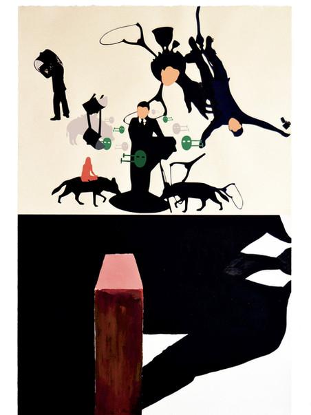 Primer movimiento para sinfonia de sofás. 2016 (112 x 76 cm) collage y tinta china sobre papel