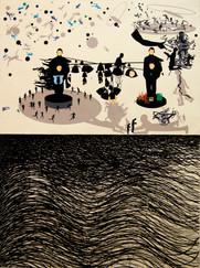Epifania en marejada. 2018 (154 x 112 cm ) collage y tinta china
