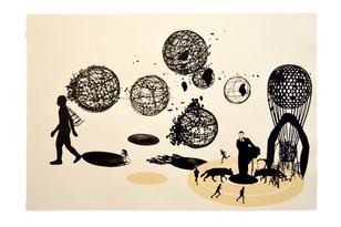 Corredor de fondo. 2016 (76x112 cm) collage y tinta china sobre papel