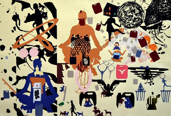 Monje II. 2016 (76x112cm) collage y tint