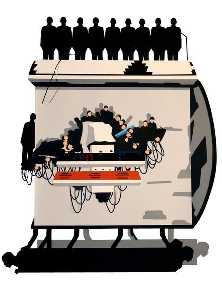 Portátil glaciar, 2009 (120x103x11cm) Gouache recortado montado en caja de metacrilato