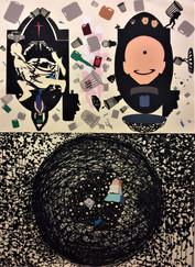 Dios es Humor 2019 (154x112 cm) collage y tinta china