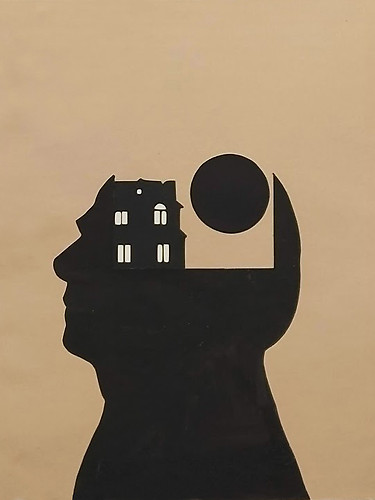 Espacio mental ( I ). 2020 (49´5 x 40 cm ) tinta china sobre papel recortado