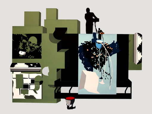 Tráfico de amaneceres. 2009 (182x142 cm) gouache recortado, montado en caja de metacrilato