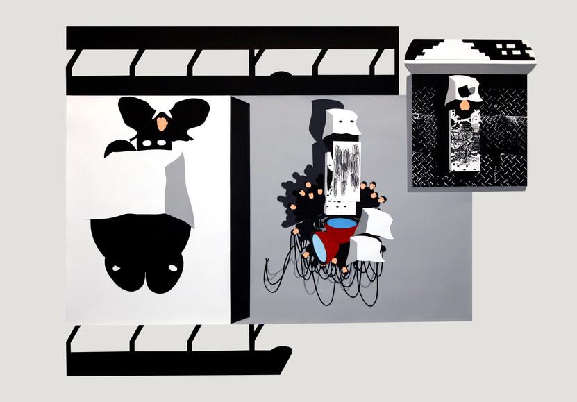 Silencio sin nenúfares. 2009 (158x126 cm) gouache recortado, montado en caja de metacrilato