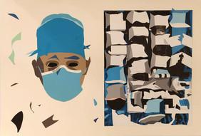 Sanidad publica II. 2020 ( 112,5x 77,5 cm) collage y guache