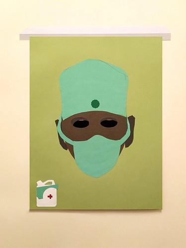 Sanidad pública ( II ). 2020 ( 96´5 X 77 cm ) collage de cartulinas recortadas