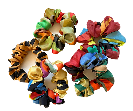 Silk remnant scrunchie pair