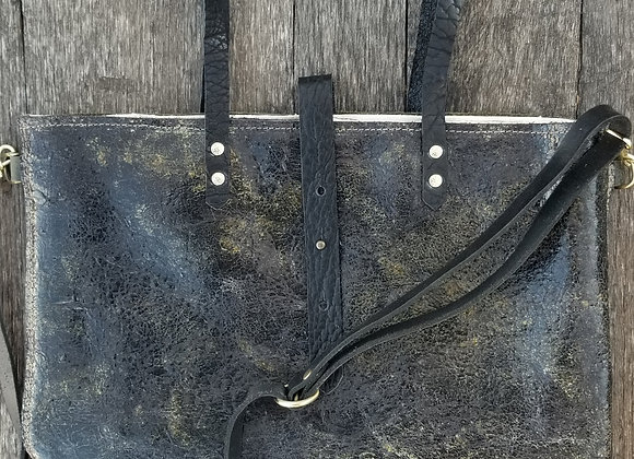 Awesome distressed green leather tote