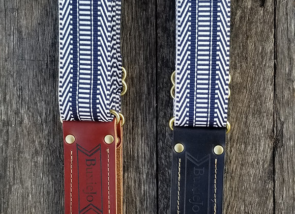 Fancy strap - Navy and white woven