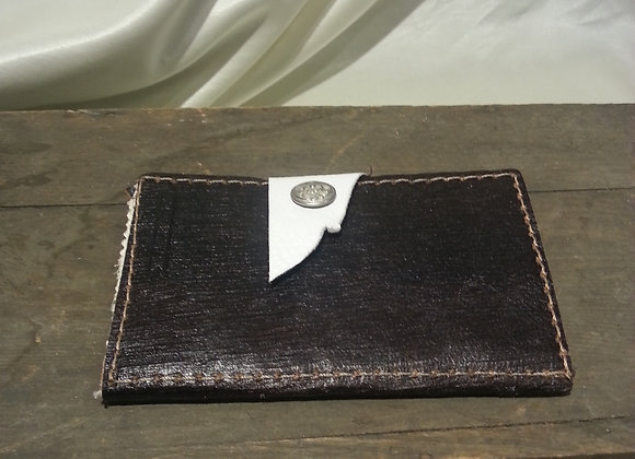 Deep brown and white wallet