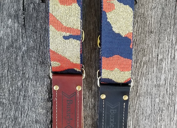 Fancy strap - Navy and Orange with Gold sparkle