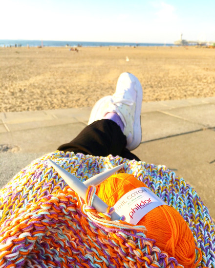 Knitting by the beach