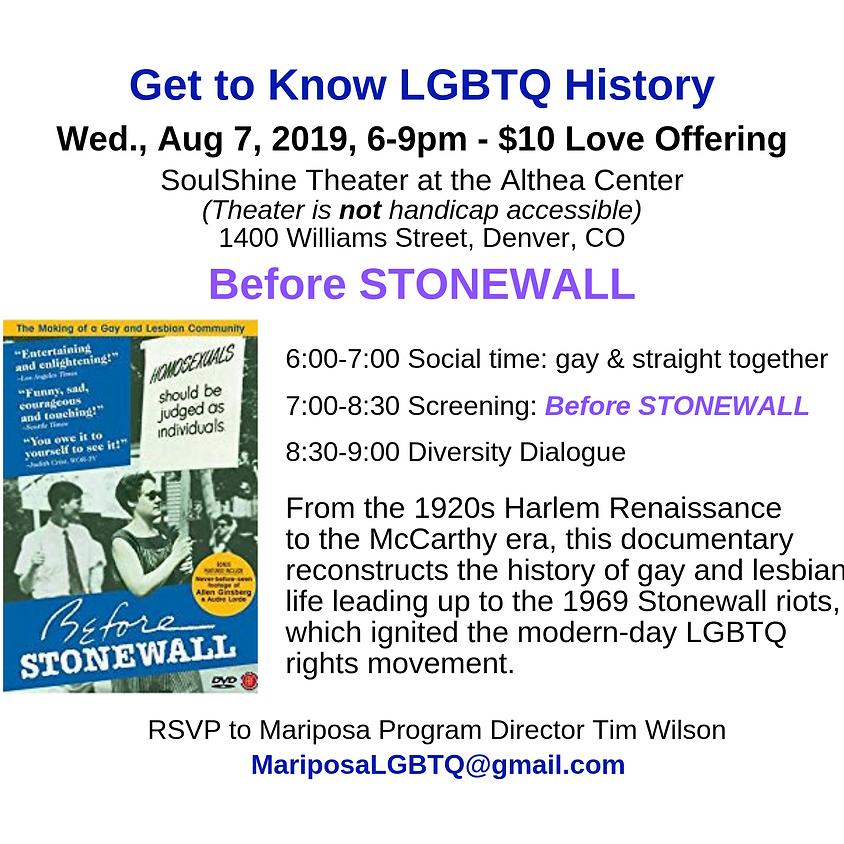 Mariposa's Diversity Dialogue - Before Stonewall