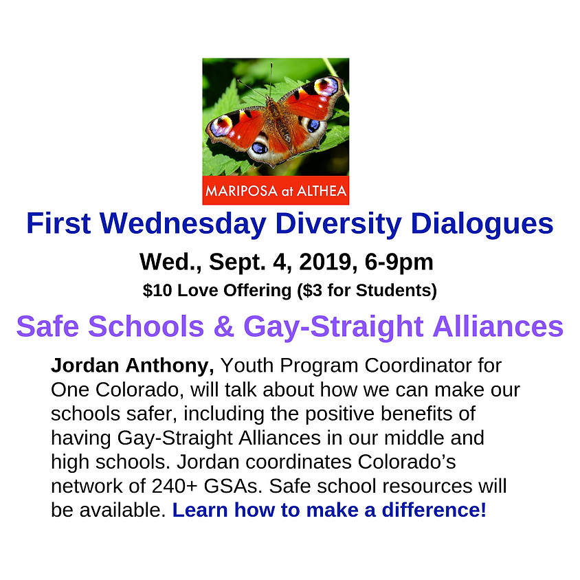 First Wednesday Diversity Dialogue: Safe Schools & Gay-Straight Alliances