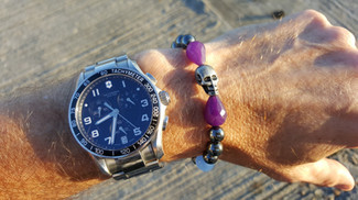 Pearls And Purple on the wrist