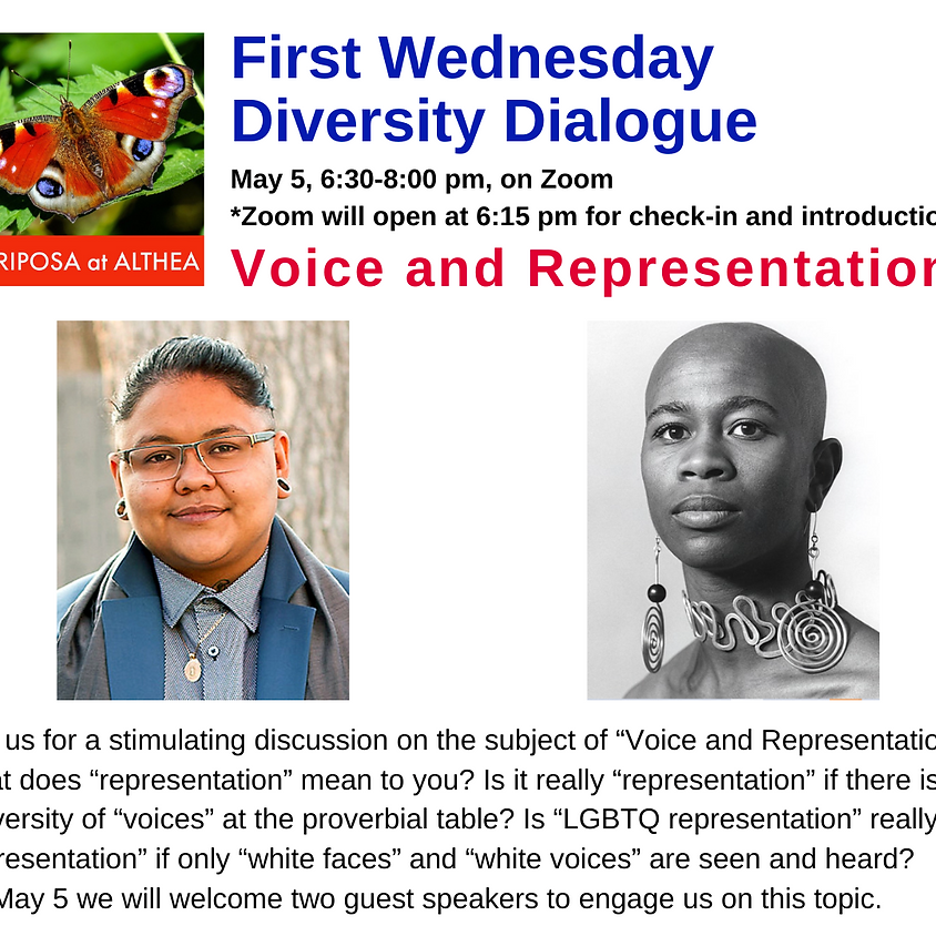 Mariposa's First Wednesday Diversity Dialogue for May 5, 2021 - Zoom