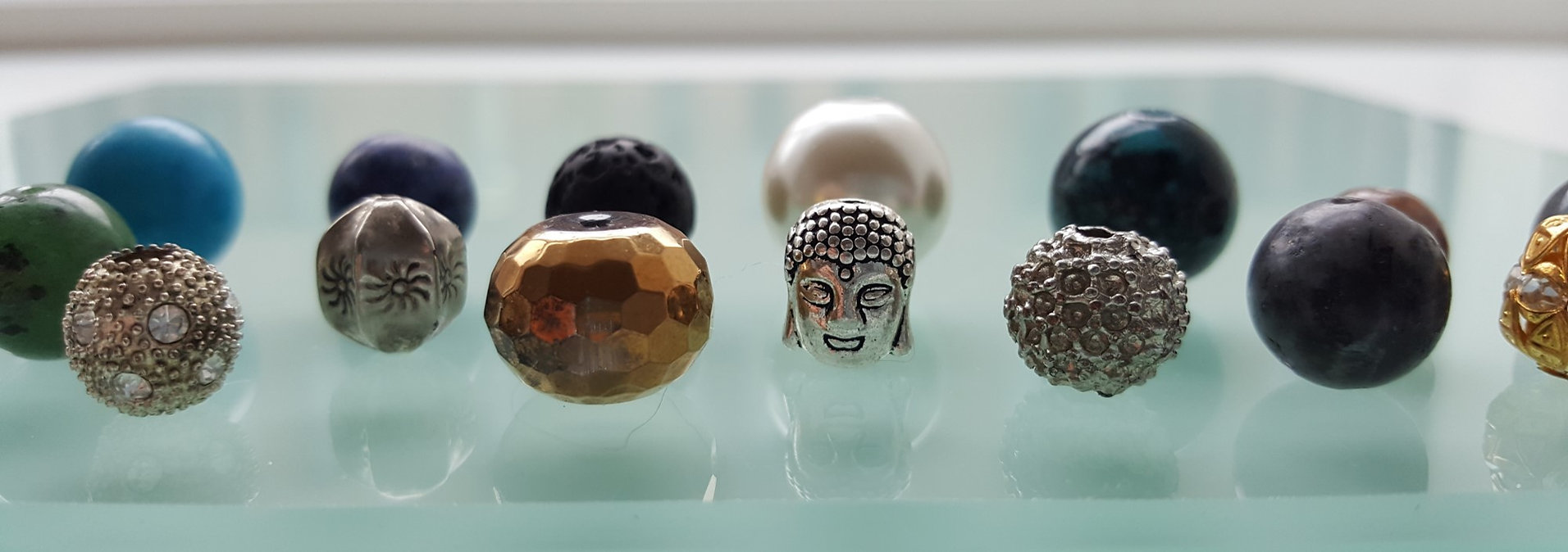 We use vintage beads, and the bracelets are handmade in our studio