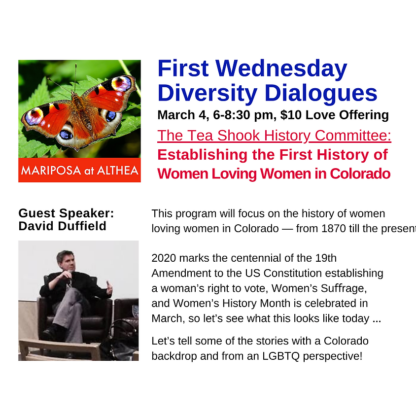 First Wednesday Diversity Dialogues: First History of Women Loving Women in Colorado