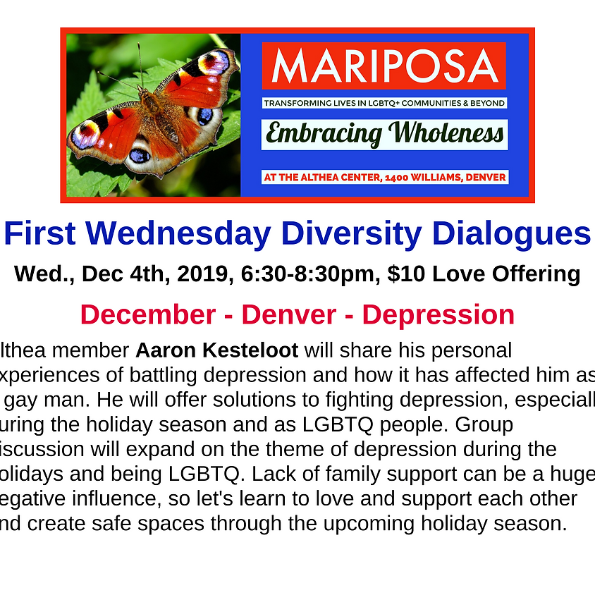 First Wednesday Diversity Dialogues: December - Denver - Depression