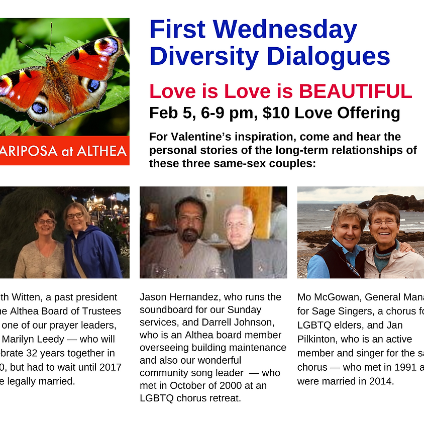 First Wednesday Diversity Dialogues: Love is Love is BEAUTIFUL