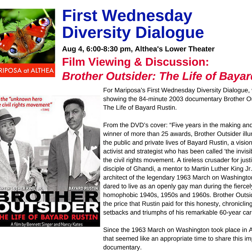 Mariposa's First Wednesday - Film Viewing & Discussion:  Brother Outsider: The Life of Bayard Rustin