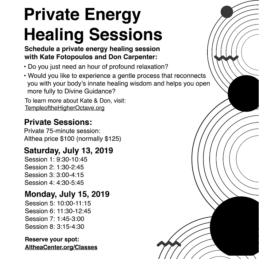 Private Healing Sessions, Saturday, July 13th