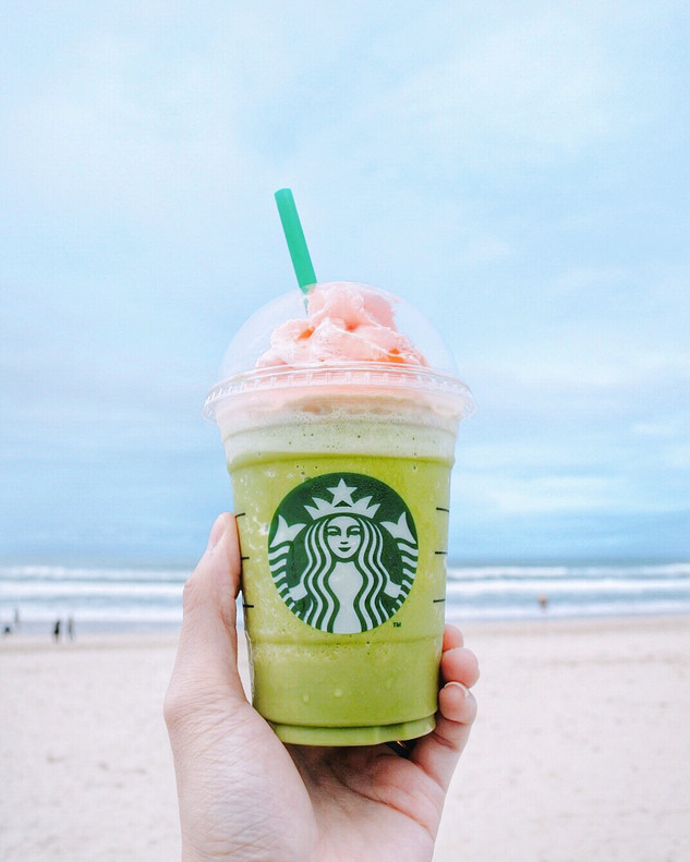 Green Tea Strawberry Blossom Frappucino