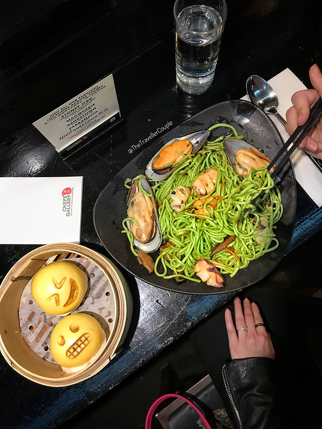 Green Wok Fried Noodle and Emoji Bun
