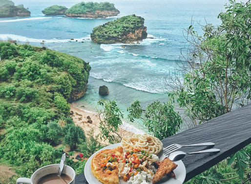 Indonesian breakfast with million dollars view