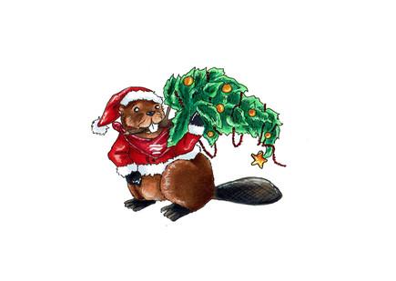 Weihnachtsbiber 03 (traditionelle Zeichnung)