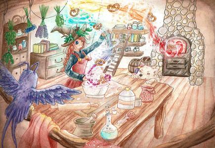 Um der Aufforderung nachzukommen, ein Geschenk zur Party mitzubringen, sammelt sie die frischen Zutaten zusammen und beginnt zu backen.