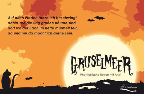 """Halloween-Anthologie der Onlinezeitschrift """"Schreibmeer"""" - Werbeplakat mit Textausschnitt"""