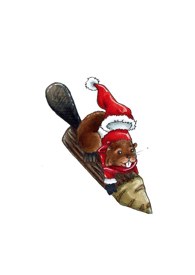 Weihnachtsbiber 02 (traditionelle Zeichnung)
