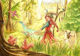 """Sie sieht viele Tiere, kann die schönen Blumen riechen und das Wasser rauschen hören. """"So viele schöne Dinge"""", staunt die kleine Hexe."""