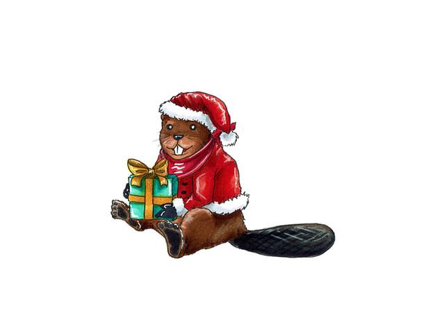 Weihnachtsbiber 01 (traditionelle Zeichnung)