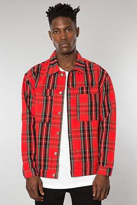 Red Tartan Plaid Denim Jacket