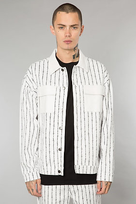 Barbed Wire Pinstripe Denim Jacket